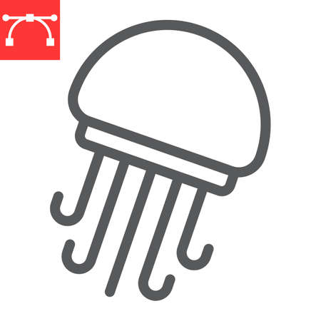 Jellyfish line icon, sea and ocean animals, jellyfish vector icon, vector graphics, editable stroke outline sign