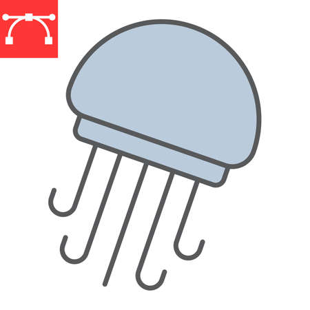 Jellyfish color line icon, sea and ocean animals, jellyfish vector icon, vector graphics, editable stroke filled outline sign Çizim