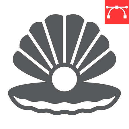 Seashell with pearl glyph icon, shell and ocean animals, open seashell vector icon, vector graphics, editable stroke solid sign