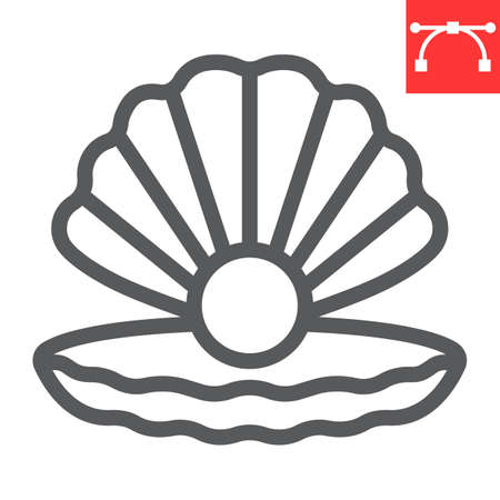 Seashell with pearl line icon, shell and ocean animals, open seashell vector icon, vector graphics, editable stroke outline sign