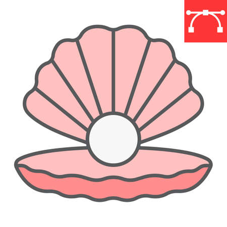Seashell with pearl color line icon, shell and ocean animals, open seashell vector icon, vector graphics, editable stroke filled outline sign