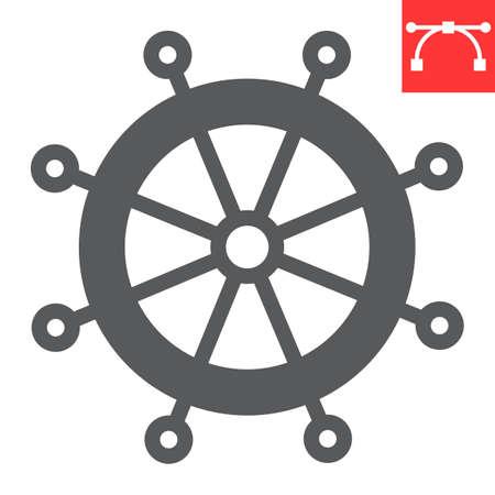 Ship steering wheel glyph icon, boat wheel and ocean, helm vector icon, vector graphics, editable stroke solid sign Çizim