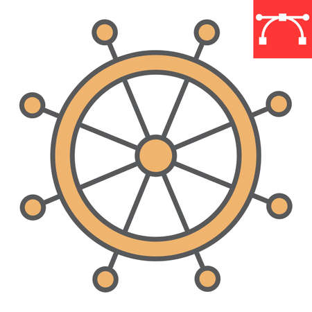 Ship steering wheel color line icon, boat wheel and ocean, helm vector icon, vector graphics, editable stroke filled outline sign