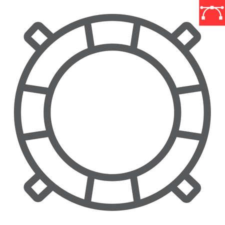 Lifebuoy line icon, lifeguard and help, lifesaver vector icon, vector graphics, editable stroke outline sign