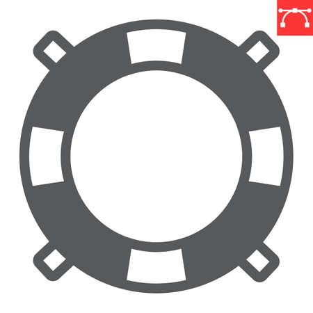 Lifebuoy glyph icon, lifeguard and help, lifesaver vector icon, vector graphics, editable stroke solid sign