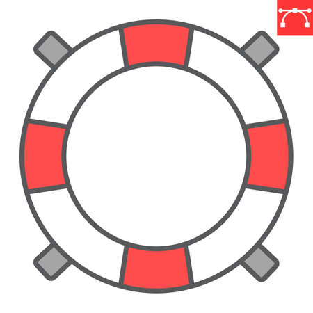Lifebuoy color line icon, lifeguard and help, lifesaver vector icon, vector graphics, editable stroke filled outline sign