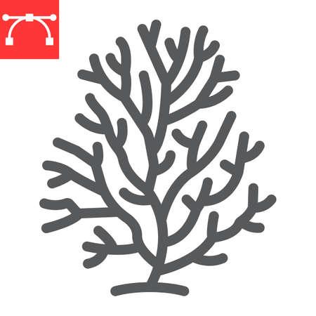 Coral line icon, sea and ocean animals, coral reef vector icon, vector graphics, editable stroke outline sign