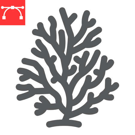 Coral glyph icon, sea and ocean animals, coral reef vector icon, vector graphics, editable solid outline sign