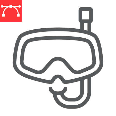 Diving mask line icon, scuba galsses and ocean, dive mask vector icon, vector graphics, editable stroke outline sign Çizim