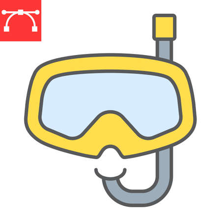 Diving mask color line icon, scuba galsses and ocean, dive mask vector icon, vector graphics, editable stroke filled outline sign Çizim