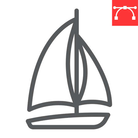 Sailboat line icon, ship and travel, boat vector icon, vector graphics, editable stroke outline sign