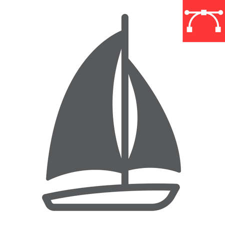 Sailboat glyph icon, ship and travel, boat vector icon, vector graphics, editable stroke solid sign