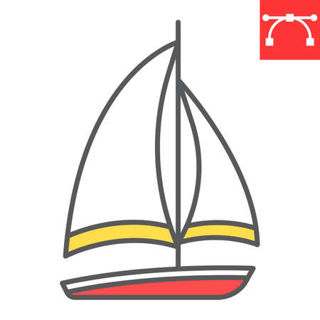 Sailboat color line icon, ship and travel, boat vector icon, vector graphics, editable stroke filled outline sign