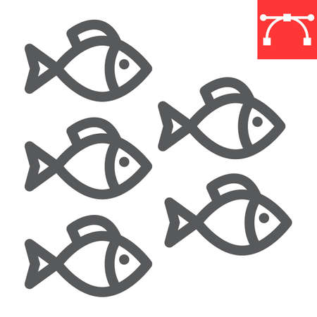 Group of sea fishes line icon, sea fish and ocean animals, fishes vector icon, vector graphics, editable stroke outline sign Çizim