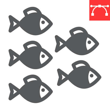 Group of sea fishes glyph icon, sea fish and ocean animals, fishes vector icon, vector graphics, editable stroke solid sign