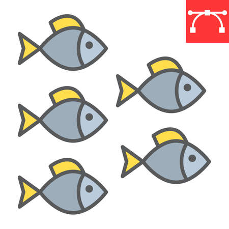 Group of sea fishes color line icon, sea fish and ocean animals, fishes vector icon, vector graphics, editable stroke filled outline sign