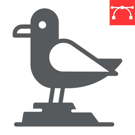 Seagull glyph icon, sea and herring gull, seagull vector icon, vector graphics, editable stroke solid sign