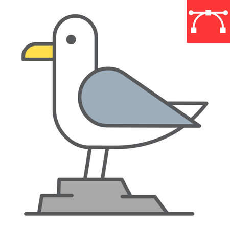Seagull color line icon, sea and herring gull, seagull vector icon, vector graphics, editable stroke filled outline sign