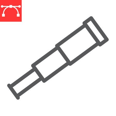 Spyglass line icon, sea and optical, telescope vector icon, vector graphics, editable stroke outline sign