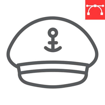 Captain hat line icon, sea and uniform, captain cap vector icon, vector graphics, editable stroke outline sign Çizim