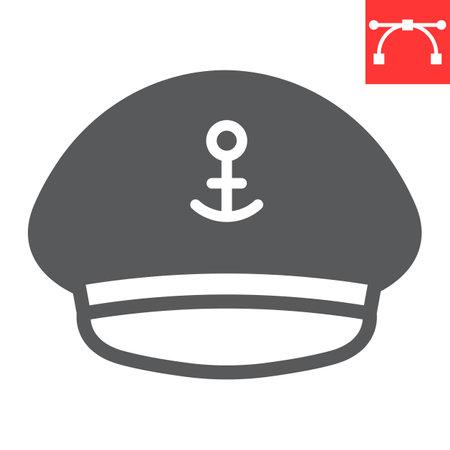 Captain hat glyph icon, sea and uniform, captain cap vector icon, vector graphics, editable stroke solid sign Çizim