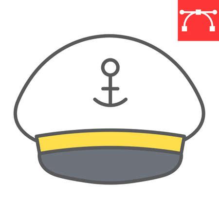 Captain hat color line icon, sea and uniform, captain cap vector icon, vector graphics, editable stroke filled outline sign Çizim