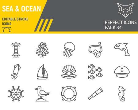 Sea and Ocean line icon set, ocean animals collection, vector graphics, logo illustrations, Sea vector icons, marine signs, outline pictograms, editable stroke.
