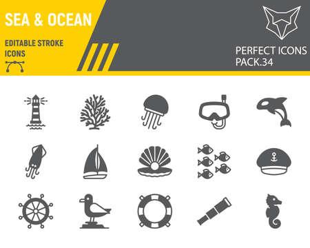 Sea and Ocean glyph icon set, ocean animals collection, vector graphics, logo illustrations, Sea vector icons, marine signs, solid pictograms, editable stroke. Çizim