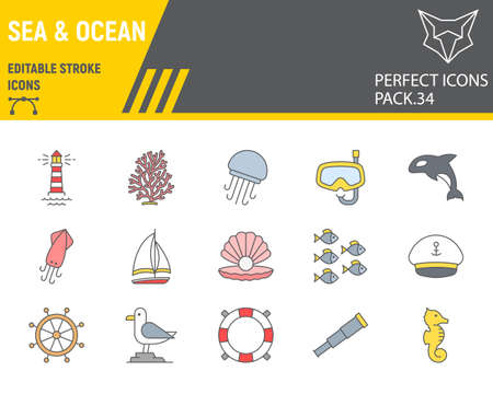 Sea and Ocean color line icon set, ocean animals collection, vector graphics, logo illustrations, Sea vector icons, marine signs, filled outline pictograms, editable stroke. Çizim