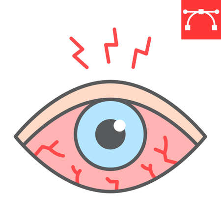 Eye sore color line icon, disease and allergy, eye redness vector icon, vector graphics, editable stroke filled outline sign, eps 10.