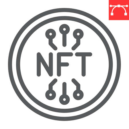 NFT coin line icon