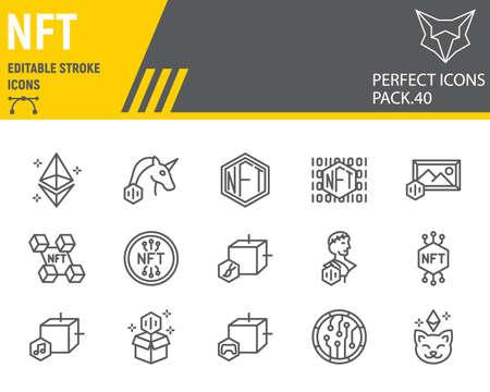 NFT line icon set Vecteurs