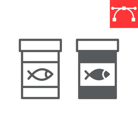 Fish feed line and glyph icon, pet shop and meal, fish food jar vector icon, vector graphics, editable stroke outline sign Иллюстрация
