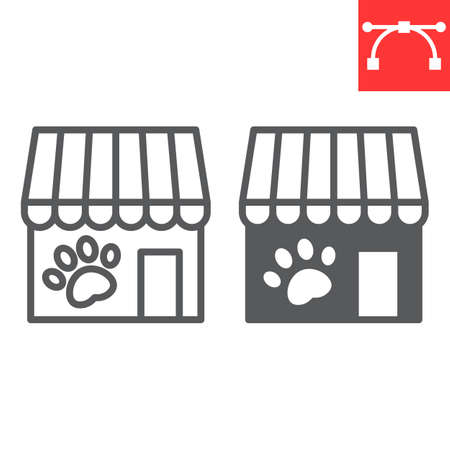 Pet shop line and glyph icon, building and market, pet store vector icon, vector graphics, editable stroke outline sign