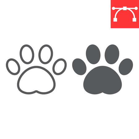 Paw print line and glyph icon, pet and foot, dog paw footprint vector icon, vector graphics, editable stroke outline sign