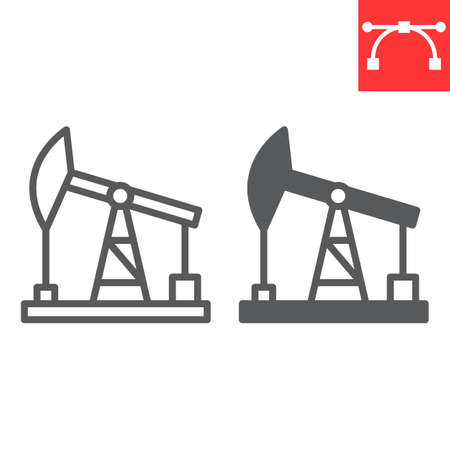 Oil pump line and glyph icon, industry and pump jack, oil rig vector icon, vector graphics, editable stroke outline sign Иллюстрация