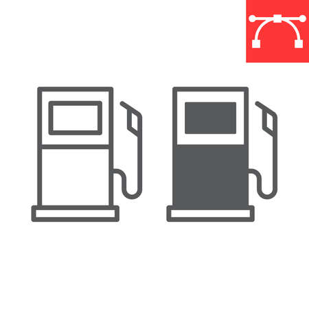 Gas station line and glyph icon, fuel and gasoline, petrol pump vector icon, vector graphics, editable stroke outline sign