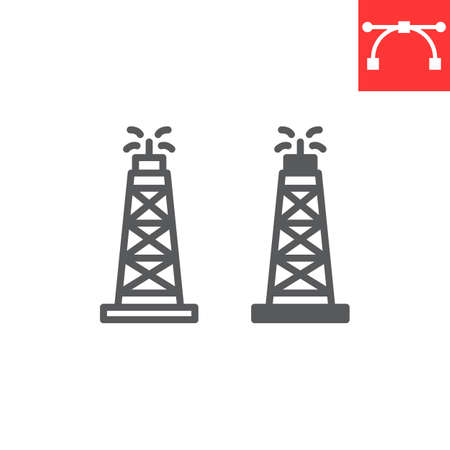 Oil rig line and glyph icon, fuel tower and drilling rig, oil derrick vector icon, vector graphics, editable stroke outline sign