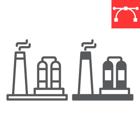 Refinery line icon, factory and industry, chemical plant vector icon, vector graphics, editable stroke outline sign