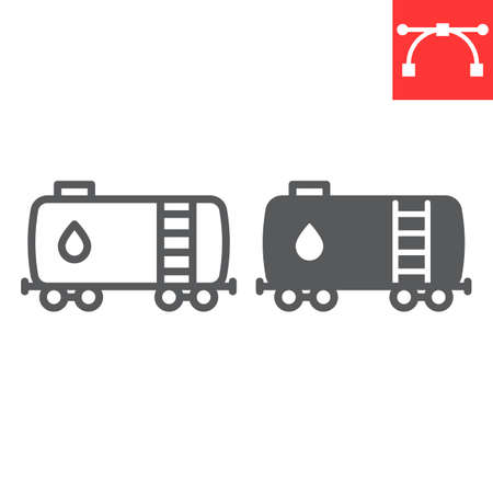 Oil railway tank line and glyph icon, oil train and fuel carriage, oil tank vector icon, vector graphics, editable stroke outline sign