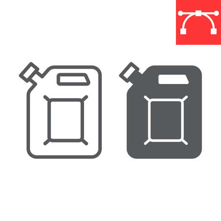 Jerrycan line and glyph icon, fuel gallon and gas can, gasoline canister vector icon, vector graphics, editable stroke outline sign Иллюстрация