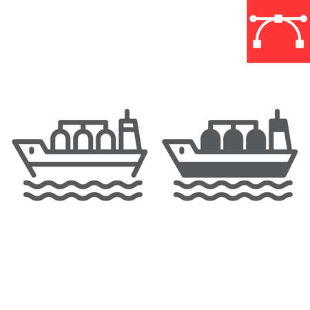 Oil tanker ship line and glyph icon, fuel shipping and logistics, cargo ship vector icon, vector graphics, editable stroke outline sign