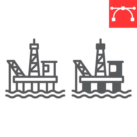 Oil platform line and glyph icon, gas rig and industry, oil platform vector icon, vector graphics, editable stroke outline sign Иллюстрация
