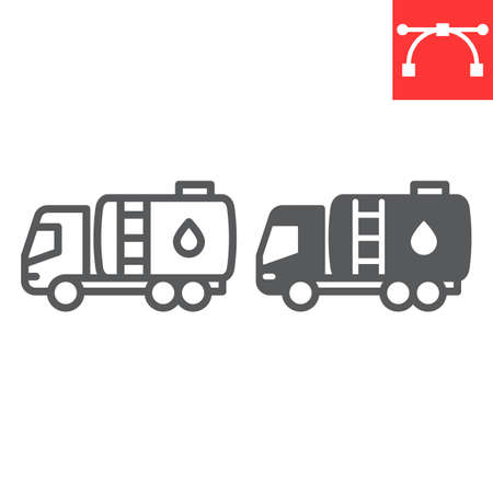Oil tanker truck line and glyph icon, fuel cargo and logistics, tank truck vector icon, vector graphics, editable stroke outline sign