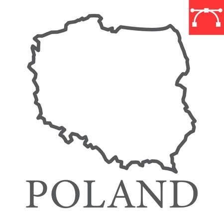 Map of Poland line icon Иллюстрация