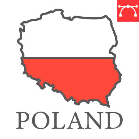 Map of Poland flag color line icon