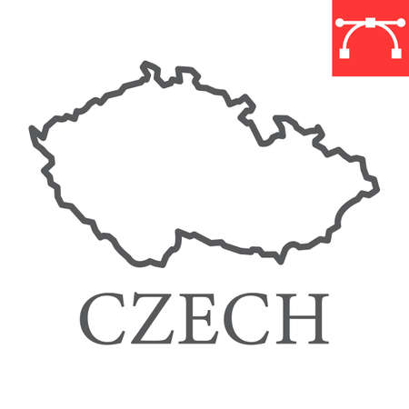 Map of Czech Republic line icon
