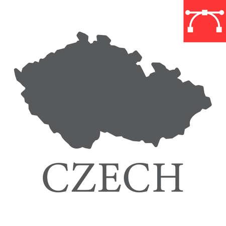 Map of Czech Republic glyph icon Иллюстрация