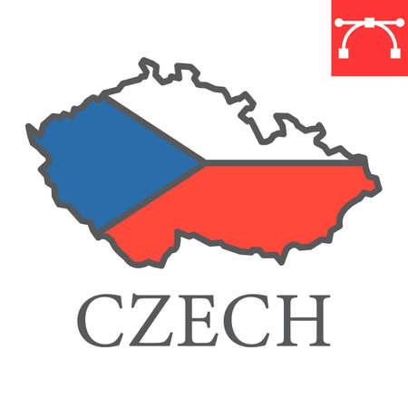 Map of Czech Republic flag color line icon