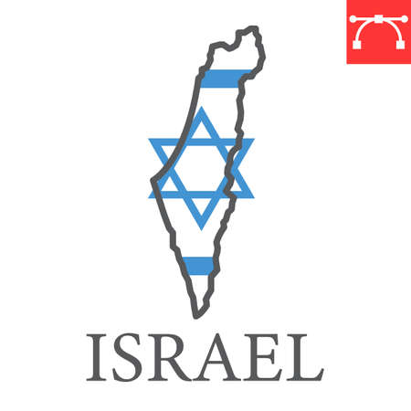 Map of Israel flag color line icon
